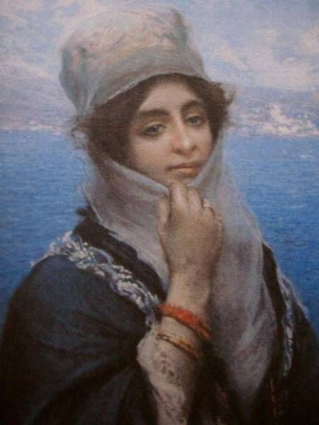 Fausto Zonaro Painting - Fausto Zonaro A Young Lady by Eastern Accents