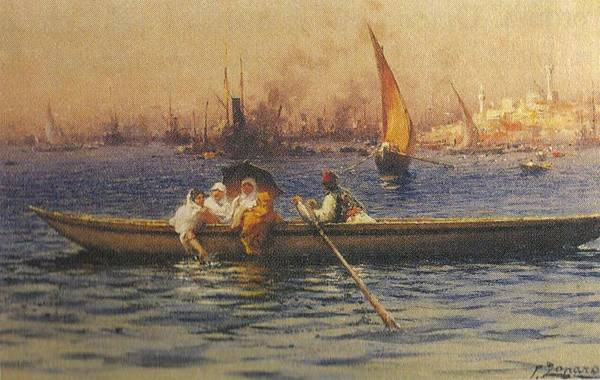 Fausto Zonaro Painting - Fausto Zonaro Boat by Eastern Accents