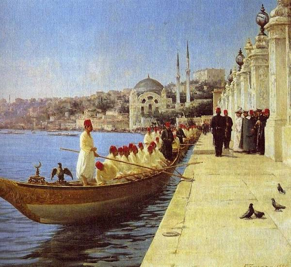 Fausto Zonaro Painting - Fausto Zonaro Boats by Eastern Accents