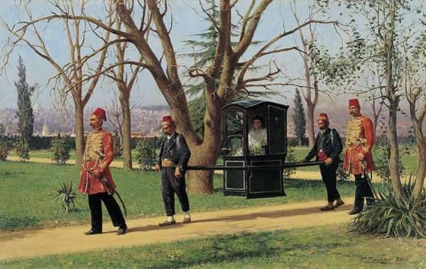 Fausto Zonaro Painting - Fausto Zonaro - Daughter Of The English Ambassador Riding In A Palanquin 1896 by Fausto Zonaro