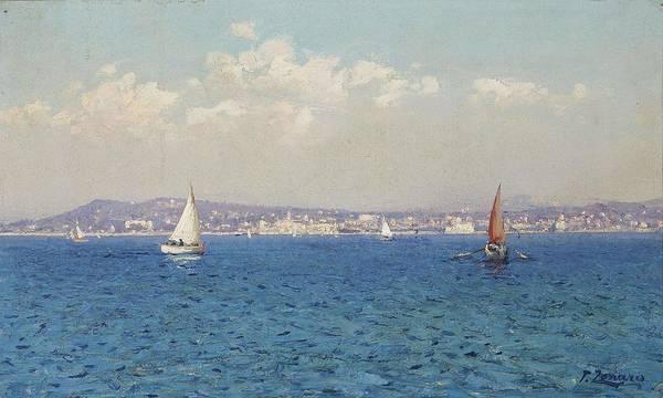 Fausto Zonaro Painting - Fausto Zonaro Franzosische Riviera by Fausto Zonaro