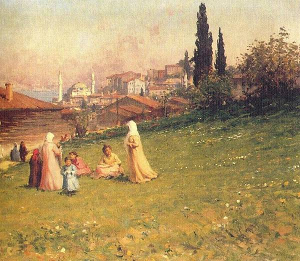 Fausto Zonaro Painting - Fausto Zonaro Landside by Eastern Accents