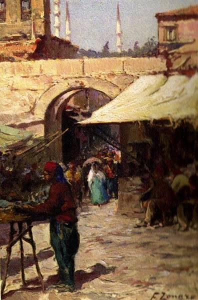 Fausto Zonaro Painting - Fausto Zonaro Market by Eastern Accents