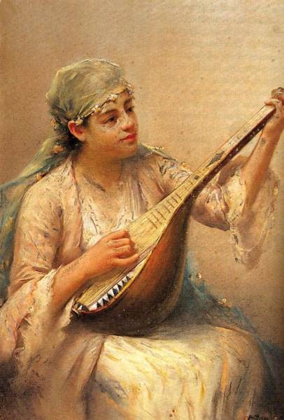 Fausto Zonaro Painting - Fausto Zonaro Playing Music by Eastern Accents