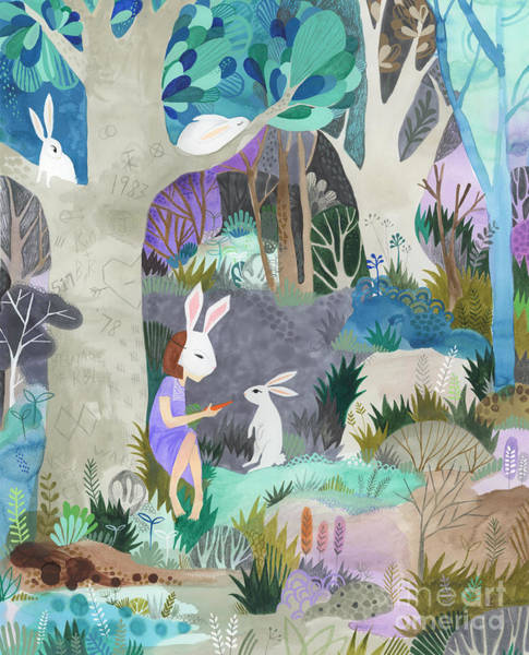 Aqua Drawing - Faux Fur by Kate Cosgrove