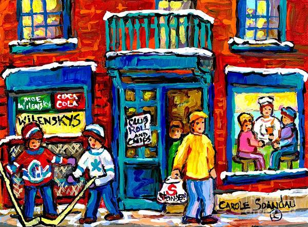 Painting - Favorite Montreal Lunch Spot Wilensky's Counter Canadian Hockey Art Painting For Sale Carole Spandau by Carole Spandau