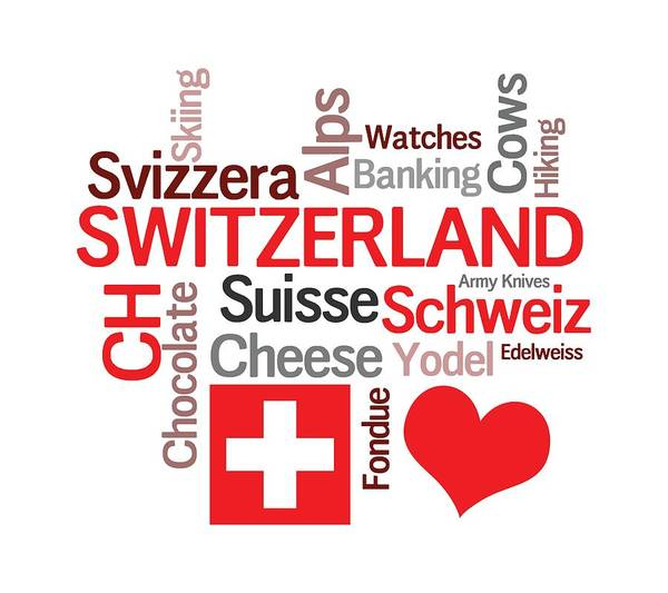 Chs Digital Art - Favorite Swiss Things by Antique Images