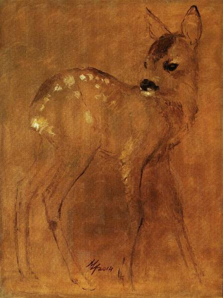 Painting - Fawn by Attila Meszlenyi