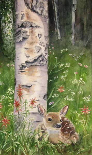 Fawn Painting - Fawn In Woods by Patricia Pushaw