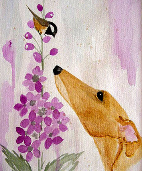 Sighthound Wall Art - Painting - Fawn With Chickadee by Jennifer Howard