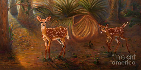 Wall Art - Painting - Fawns In The Forest  by Zina Stromberg