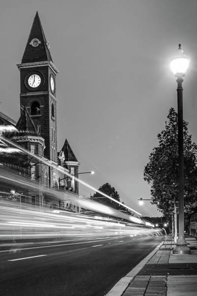 Photograph - Fayetteville Arkansas Skyline And Lights - Black And White by Gregory Ballos