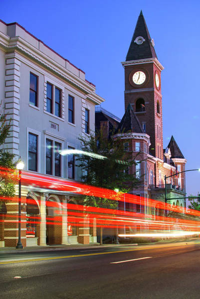 Courthouse Towers Wall Art - Photograph - Fayetteville Arkansas Skyline At Night by Gregory Ballos