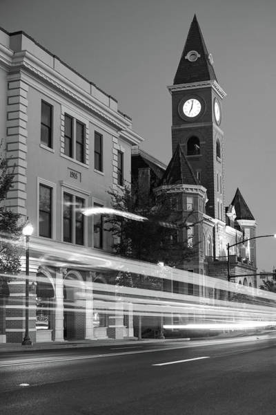 Courthouse Towers Wall Art - Photograph - Fayetteville Arkansas Skyline At Night In Black And White by Gregory Ballos