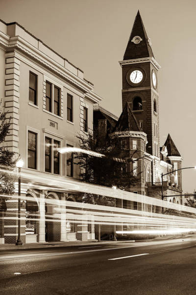 Courthouse Towers Wall Art - Photograph - Fayetteville Arkansas Skyline At Night In Sepia by Gregory Ballos