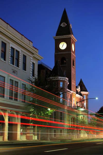 Fayetteville Photograph - Fayetteville Arkansas Skyline Light Trails by Gregory Ballos