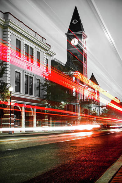 Photograph - Fayetteville Arkansas Skyline - Selective Color Light Trails by Gregory Ballos