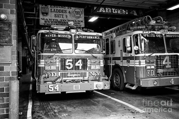 Wall Art - Photograph - fdny fire station with engine 54 and ladder 5 battalion 9 New York City USA by Joe Fox