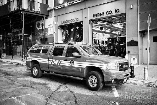Wall Art - Photograph - fdny gmc truck outside engine 10 ladder 10 company station liberty street New York City USA by Joe Fox