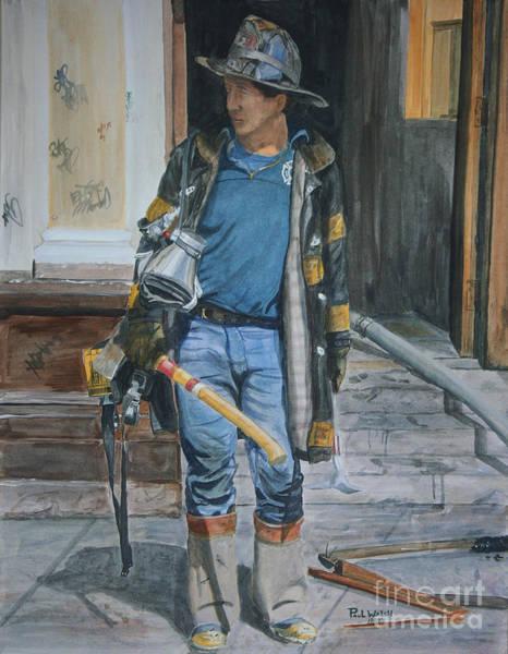 Wall Art - Painting - Fdny  Harlem Truckie- Ladder 28 by Paul Walsh