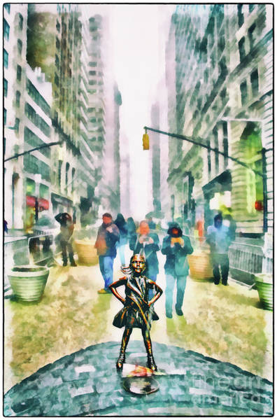 Fearless Photograph - Fearless Girl 3 Water Color Version by Nishanth Gopinathan