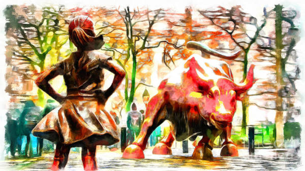 Fearless Photograph - Fearless Girl And Wall Street Bull Statues 10 by Nishanth Gopinathan