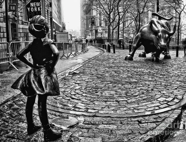 Statue Photograph - Fearless Girl And Wall Street Bull Statues 3 Bw by Nishanth Gopinathan