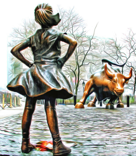 Fearless Photograph - Fearless Girl And Wall Street Bull Statues 5 Version 2 by Nishanth Gopinathan