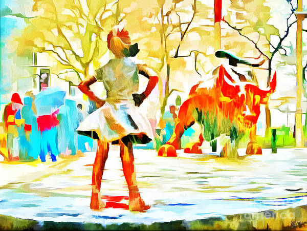 Charge Photograph - Fearless Girl And Wall Street Bull Statues 6 Watercolor by Nishanth Gopinathan