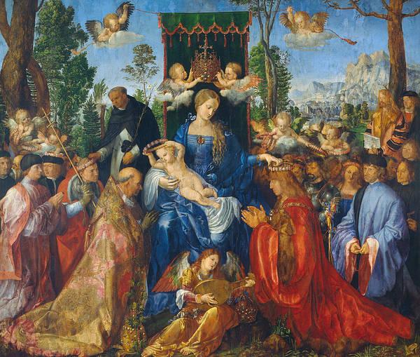 Albrecht Durer Wall Art - Painting - Feast Of Rose Garlands by Albrecht Durer
