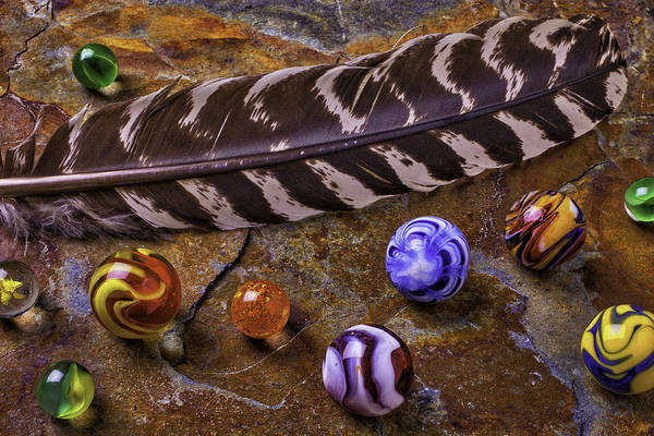 Flight Feathers Photograph - Feather And Marbles by Garry Gay