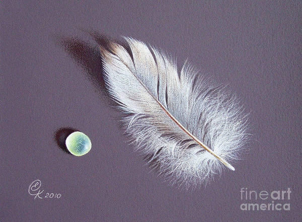 Drawing - Feather And Sea Glass 2 by Elena Kolotusha