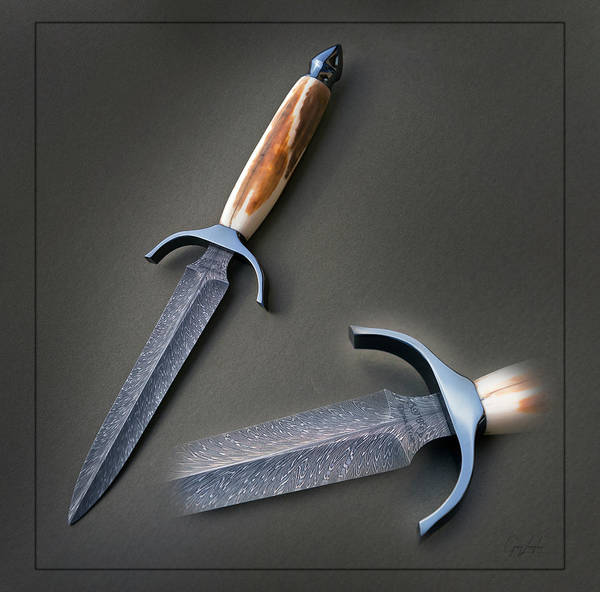Damascus Photograph - Feather Damacus And Fossilized Walrus Dagger by Gary Langley