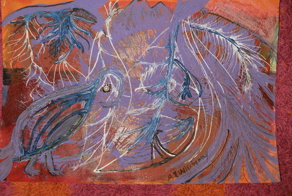 Pelican Mixed Media - Feathers And Swirls by Anne-Elizabeth Whiteway