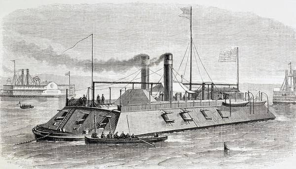 Memphis Design Wall Art - Drawing - Federal Gunboat Used During The Naval by Vintage Design Pics