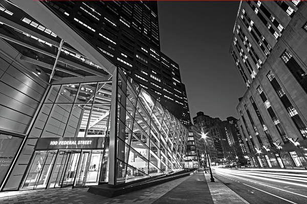 Photograph - Federal Street At Night Glass Building Boston Ma Black And White by Toby McGuire
