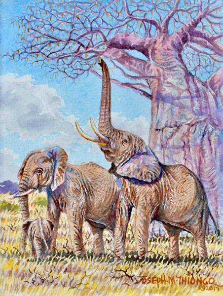Painting - Feeding Elephants by Joseph Thiongo