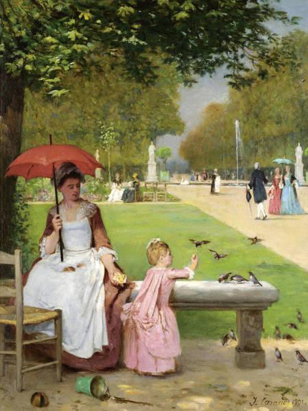 Wall Art - Painting - Feeding The Birds, Jardin Des Tuileries by Joseph Caraud