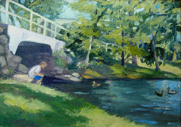 Wall Art - Painting - Feeding The Ducks by Leslie Alfred McGrath