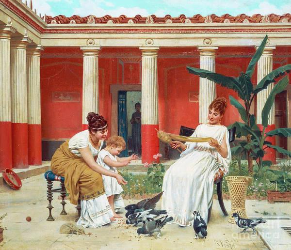 Portico Painting - Feeding The Pigeons by Raffaello Sorbi