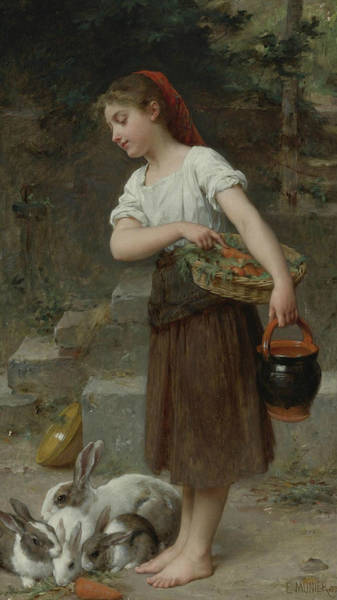 French Painter Painting - Feeding The Rabbits by Emile Munier