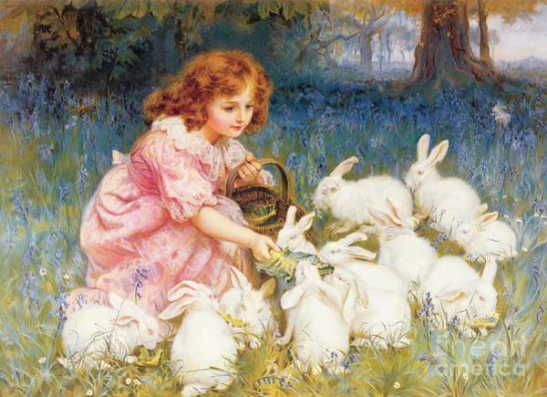 Bunny Rabbit Wall Art - Painting - Feeding The Rabbits by Frederick Morgan