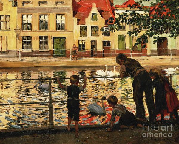 Feeding Painting - Feeding The Swans by Paul Graf