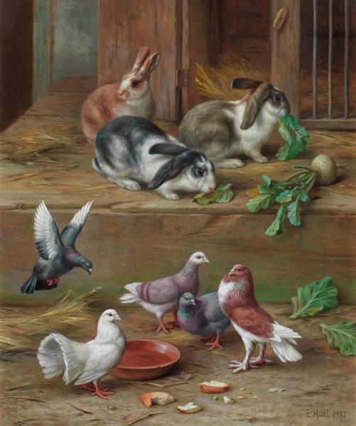 Wall Art - Painting - Feeding Time by Edgar Hunt