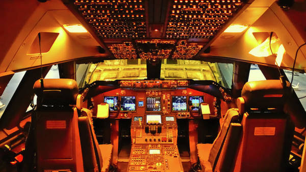 First Officer Photograph - Boeing 747 Flight Deck by R Van Agt