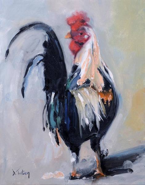 Wall Art - Painting - Feeling Cocky Rooster Painting by Donna Tuten