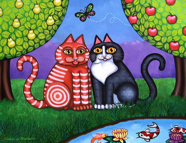 Tuxedo Cat Painting - Feeling Koi by Victoria De Almeida