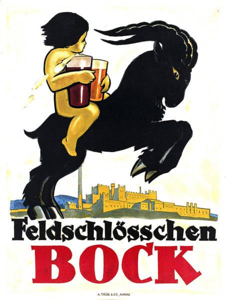 Beer Mixed Media - Feldschlosschen Bock - Vintage Beer Advertsing Poster 2 by Studio Grafiikka