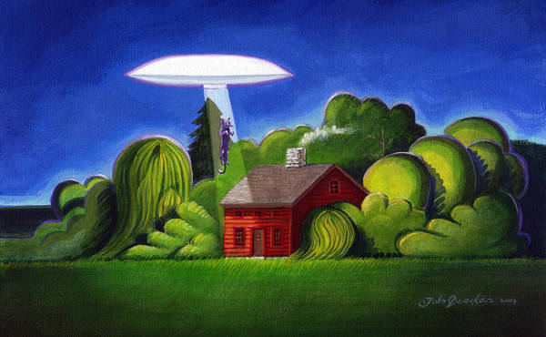 Abduction Painting - Feline Ufo Abduction by John Deecken