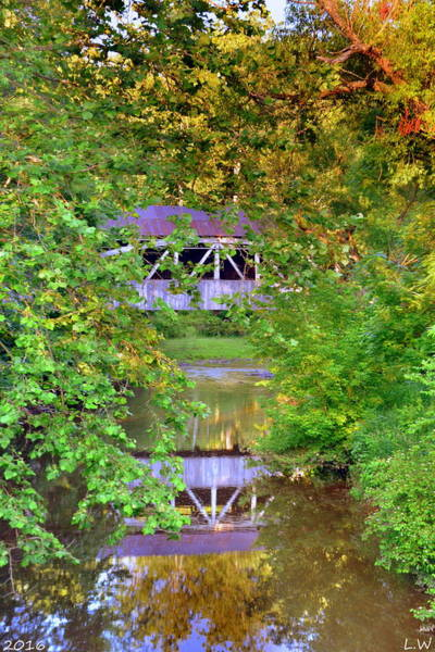 Photograph - Felton Covered Bridge Reflections by Lisa Wooten